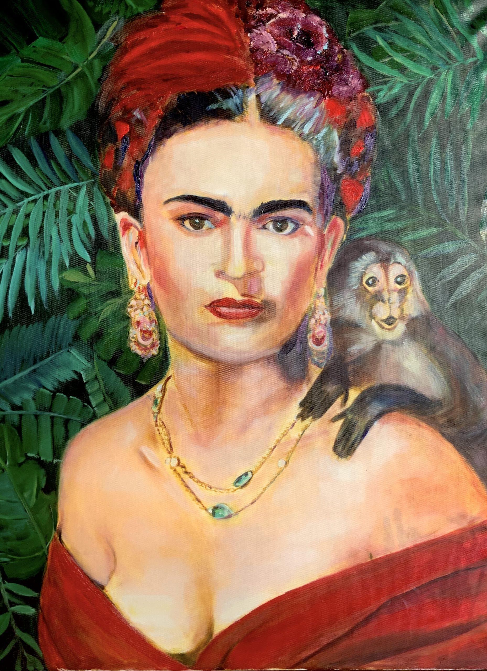 Frida Kahlo mit Äffchen